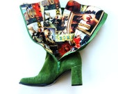 vintage POPART leather boots /  1990s kelly green chunky GOGO boots