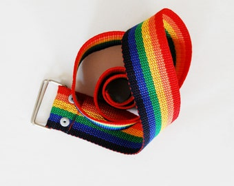 vintage 1980s RAINBOW colorful cinch belt