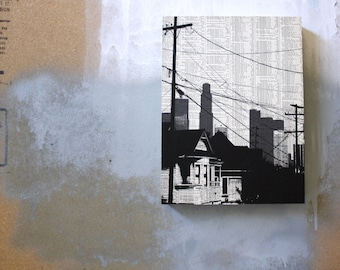 Echo Park Print - Los Angeles Skyline Artwork - Gray and Black City Art - Echo Park Art - Mounted Book Page Print