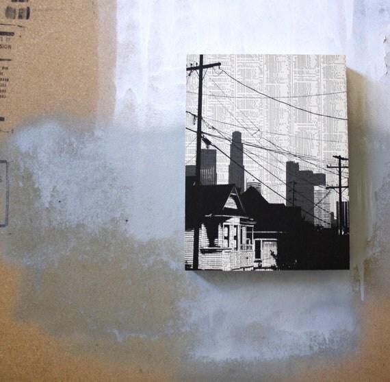 Los Angeles - Dark City no3 -  MOUNTED 9 x 12 Book Page Print - Echo Park California