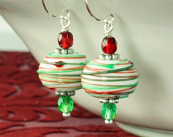 Christmas Earrings Christmas Jewelry Peppermint Earrings Peppermint Christmas Earrings White Red Green Swirl Christmas Earrings Holiday