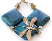 Mother's Day Dragonfly Bracelet, Jasper Bracelet, Statement Jewelry, Teal Jewelry, Chunky Bracelet, Dragonfly Jewelry, Green Blue Bracelet