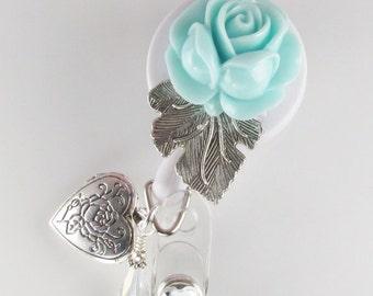 Aqua Flower Locket ID Badge Reel retractable locket lanyard