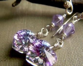 Lavender Crystal Earrings, Sterling Silver Earrings, Swarovski Crystal Heart Earrings, Lilac Heart Dangle, Violet Crystal
