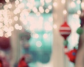 Christmas Photograph, Holiday Home Decor, Abstract Photo, Dreamy Christmas Lights, Mint Green, Red, Fine Art Photo