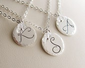 Personalized bridesmaid gift set, bridesmaid necklaces, silver initial necklace, custom birthstone necklace, bridesmaid jewelry, thank you