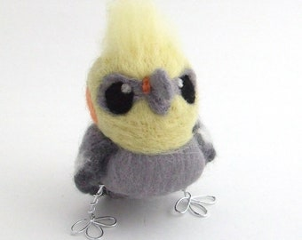 Needle Felted Cockatiel Pet Bird, Felt Bird Ornament, Bird Decoration