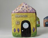 Paper Mache Art Sculpture Chubby Little House Number 35 - thee going home