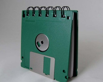Floppy Disk Mini Notebook in Forest Green Recycled Geek Gear Blank