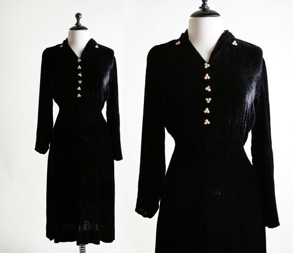 1930s Velvet Dress - Black Pearl Cluster Day Dress - Medium to Large