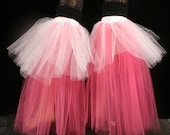 Raver tutu boot covers fluffy UV reactive dance club rave party leg warmers retro hot pink white -- Sisters of the Moon