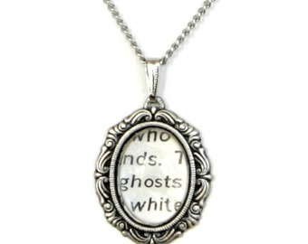 Steampunk Gothic Vampire Spooky Antiqued Silver Victorian-Style Necklace with Vintage Text GHOSTS by Velvet Mechanism