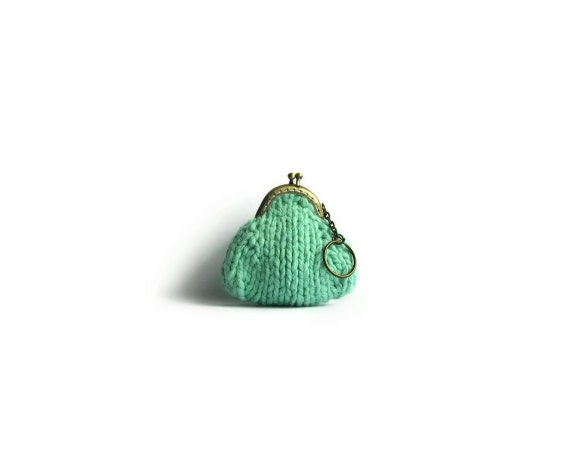 Mint Green Coin Purse Knitted with Cotton Yarn