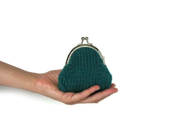 Teal Coin Purse Knitted in Soft Wool Blend