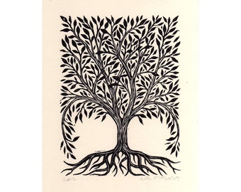 Art, Tree Art, Rectangular Tree Linocut Art Print, Hand Printed Tree Print