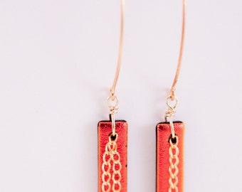 Fiery Chain Earrings, OOAK, Free Shipping, Dichroic Glass, Long Style Earrings, Laura Mae Jewelry