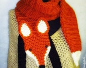 WTF  (Wrap The Fox) Faux Fox Scarf - Funky - Hip - Cool - Hand crocheted - Accessory (Made To Order)