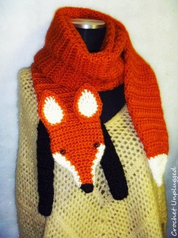 Knitting Pattern Fox Scarf : WTF Wrap The Fox Faux Fox Scarf Funky Hip Cool Hand