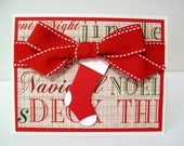 Handmade Christmas Card with Stocking - Holiday Card in Red and White - Unique Christmas Card with Large Red Bow