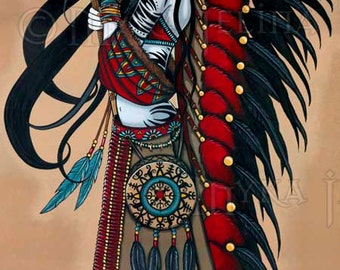 Wakanda Native Tribal Fusion Magical Peace Warrior 13 X 19 inch Art Print