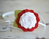 Red and White Felt Flower Headband  | m2m Matilda Jane