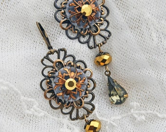 Royal Grace - Long dangling antique gold filigree lace earrings made with vintage Black Diamond stones and lush grey velvet buttons