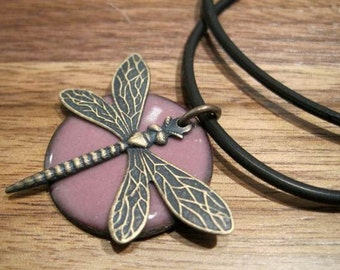 Dragonfly Jewelry, Purple Copper Enamel Necklace