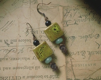 Korrinna -Boho Chic glazed ceramic and green aventurine copper earrings