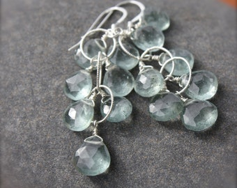 Moss Aquamarine Cluster Earrings,March birthstone earrings,silver cluster earrings,gift for her, gift under 100,blue silver earrings