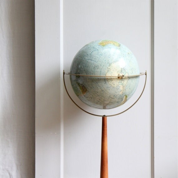Mid Century Standing Globe on Wood Stand