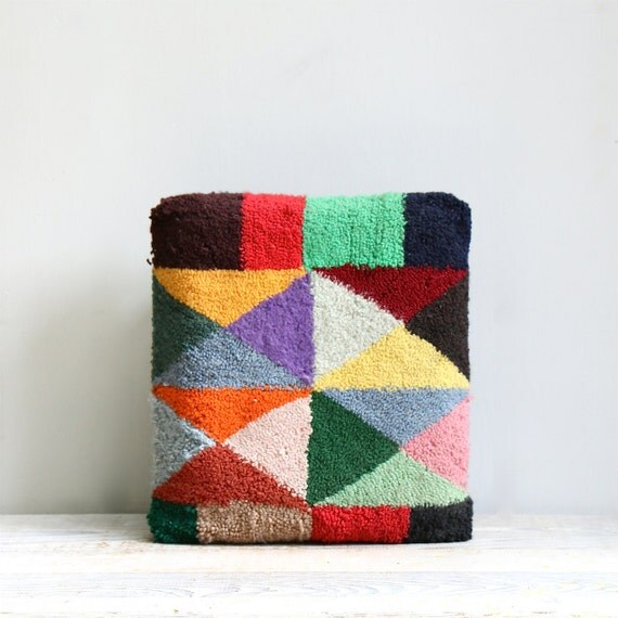 Vintage Handmade Hooked Rug Stool / Colorblock, Triangles, Abstract, Folk, Ottoman