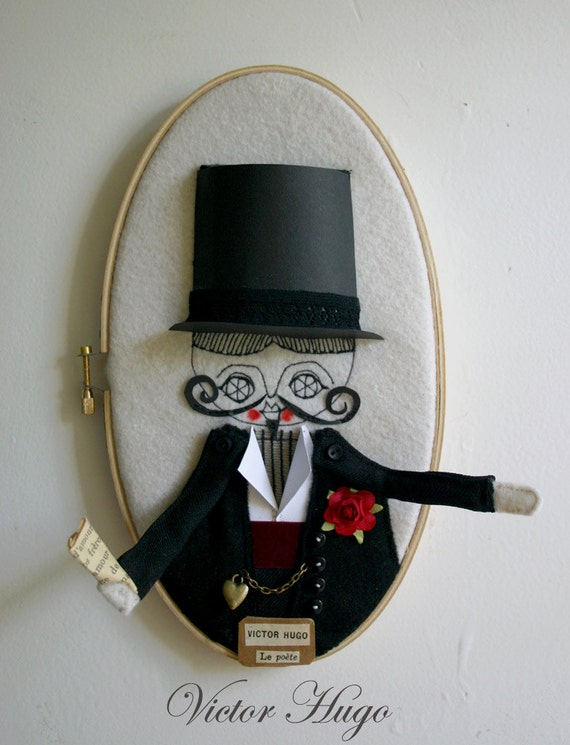 Victor Hugo - Mixed Media Fiber Art - Art doll - Embroidery Loop