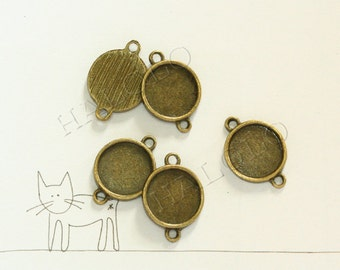 50 pcs antique bronze round base with two loops - for 12mm round cabochons. BN377C