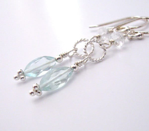 Aquamarine Gemstone Earrings: Aquamarine Gemstone Earrings Marquis Shape Sterling Silver