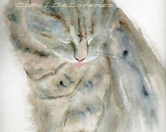 Watercolor Painting Cat Art, Cat Painting, Cat Watercolor, Cat Portrait, Pet Art, Cat Art Print Titled Quiet Bath,