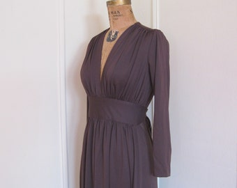 Goddess Chic - 1970s Dark Chocolate Brown Maxi Dress - Party Gown - vintage size 4, small to medium