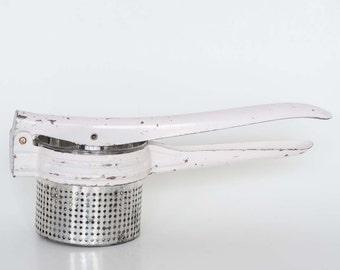 Potato Ricer - Vintage White Handle Kitchen Tool c. 1950s
