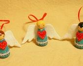 Set of Three Wool Felt Wood Peg Angel Ornaments with Heart