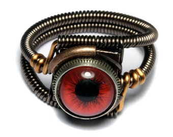 Eyeball ring, Red taxidermy glass Eye, Bronze copper finish, Steampunk ring