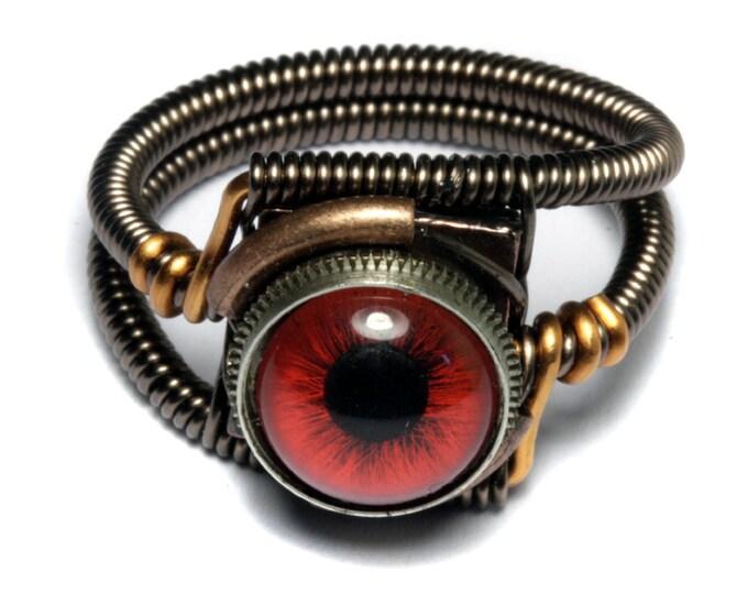 Eyeball ring, Red taxidermy glass Eye, Bronze copper finish, Steampunk ring