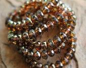 Last Listing - Grey Skies - Czech Glass Beads, Transparent Light Grey, Metallic Gold Picasso, Rondelles 6x8mm - Pc 10