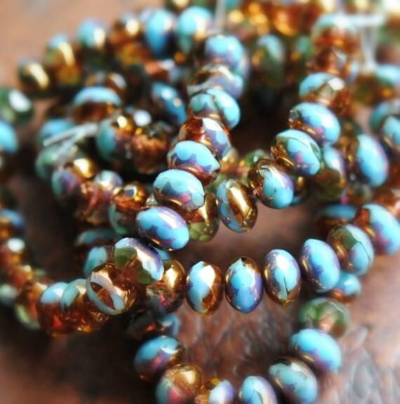 10 Break The Spell - Czech Glass Rondelle Beads 6x8mm