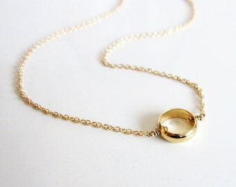 Gold Eternity Necklace / Little Gold Ring Necklace / Simple Gold Necklace