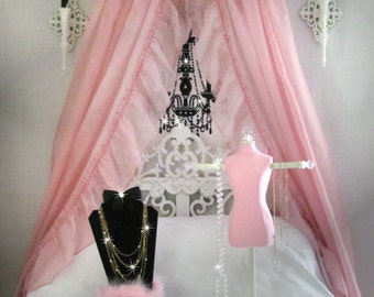 Initial Bedroom Crown BED Canopy Crib Pelmet Bedroom Valance Teester Girls French Damask SaLe