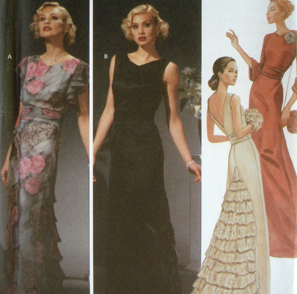 Reproduction 1930s Evening Gown Pattern Simplicity 5876 Size 6