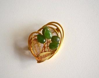 Vintage Brooch Jade Flower and Goldtone Filigree