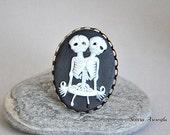 cameo Ring, Skeleton Ring, Skull Ring, Gothic Jewelry, Weddings Bridesmaids gifts black white tween skeletons ring