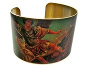 SAINT MICHAEL the ARCHANGEL Cuff Bracelet brass or stainless steel Gifts for her