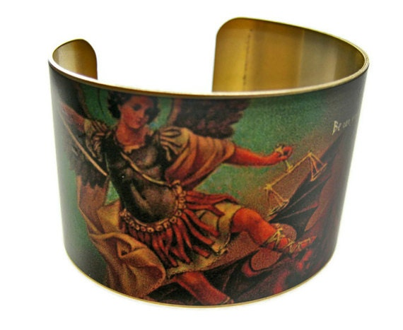 SAINT MICHAEL the ARCHANGEL Cuff Bracelet brass or aluminum Gifts for her