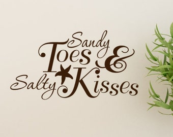 Sandy Toes And Salty Kisses Beach Decor Decal -  Starfish Wall Decal - Beach Decal - Wall Quotes, Island Decor, Nautical wall accents, vinyl
